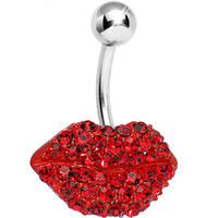 Red Gem Luscious Lips Belly Ring | Body Candy Body Jewelry