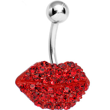 Red Gem Luscious Lips Belly Ring   Body Candy Body Jewelry