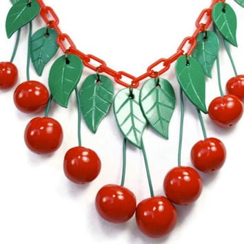 Red Cherry Necklace, Red Chain version, 1940s Vintage Bakelite Inspired Reproduction Jewelry, Polymer clay, Rockabilly, Ladybugs