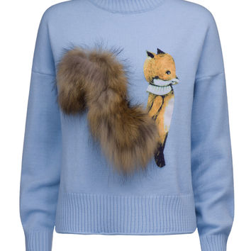 Blue High Neck Fluffy Squirrel Tail Knit Sweater