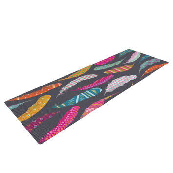 "Skye Zambrana ""Flight Pattern"" Pink Gray Yoga Mat"
