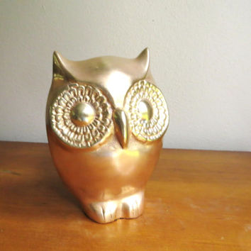 Vintage Large Brass Owl Figurine, Gold Owl Statue, Heavy Brass Owl