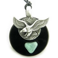 Double Circle Hunting Eagle Amulet Black Onyx and Green Aventurine Necklace