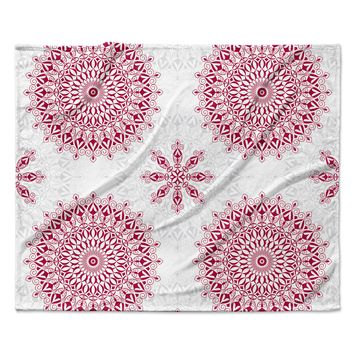 "Julia Grifol ""Geometric Mandalas"" Red White Fleece Throw Blanket"