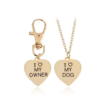 """Dog Lover Necklace""""I LOVE MY OWNER,I LOVE MY DOG""""Lettering Silver/Gold Heart Pendant Fashion Key chain BFF Necklace Jewelry   FREE SHIPPING"""