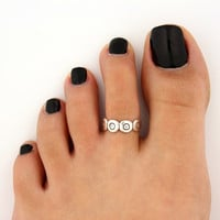 toe ring sterling silver toe ring flower design adjustable toe ring (T-65) Also knuckle ring