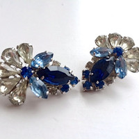 Juliana Glamorous Blue Rhinestone Clip Earrings Brides Fantasy Mad Men Fashion Jewelry