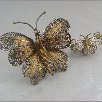 Antique 800 Silver Filigree Butterfly Brooch X 2 Mommy by jujubee1