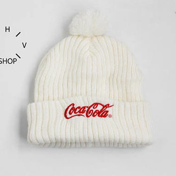 Vintage COCA COLA beanie / Outdoor winter ski snowboard knit hat / Red white COKE pom / Unisex mens womens kids teenagers cap