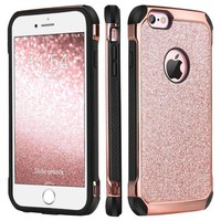 CREYRQ5 iPhone 6 Case, iPhone 6S Case, BENTOBEN Glitter Luxury 2 in 1 Ultra Slim Hard Laminated with Sparkly Shiny Faux Leather Chrome Shockproof Protective Case for iPhone 6/iPhone 6S (4.7 inch), Rose Gold