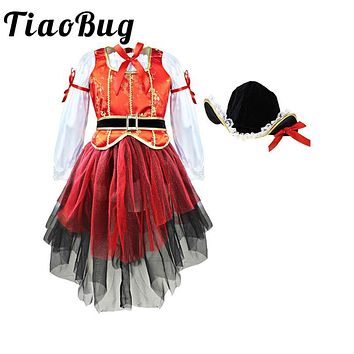 Tiaobug Kids Children Girls Pirate Costume Carnival Halloween Princess Fairy Fancy Dress up Royal Cosplay Dress with Hat Belt