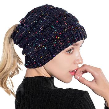 Ponytail Beanie Hat Winter Skullies Beanies Warm Caps Knitted Stylish Hats