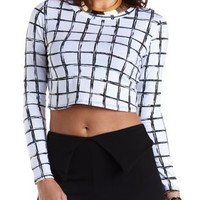 Windowpane Checked Long Sleeve Crop Top