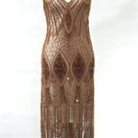The Vamp Copper Nora Montgomery Dress : Beaded 1920's Style Gowns, Art Deco Gowns, 20's Flapper Fringe Dresses, Vintage Daywear, Hollywood Reproductions..... from LeLuxe Clothing