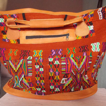 Large weekender bag. Vintage Huipil and leather. Guatemala.