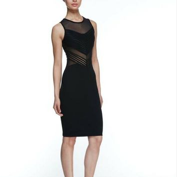 Black Mesh Body-con Sleeveless Dress