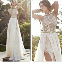 2014 New Arrival Sexy White Chiffon Beaded Appliques Lace Prom Dresses Long Halter Side Slit Spring Evening Party Gown-in Prom Dresses from Apparel & Accessories on Aliexpress.com | Alibaba Group