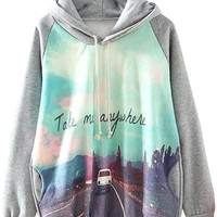 Sheinside Cute Grey Print Hooded Cool Fashion Sweatshirt