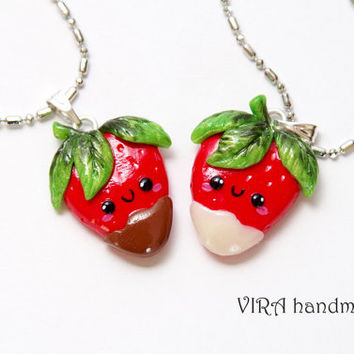 Kawaii Strawberries in Chocolate Best Friends Necklaces