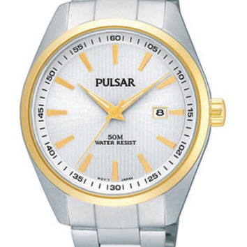 Pulsar Mens Watch - Pinstriped Silver & White Dial - Two Tone Case & SS Bracelet