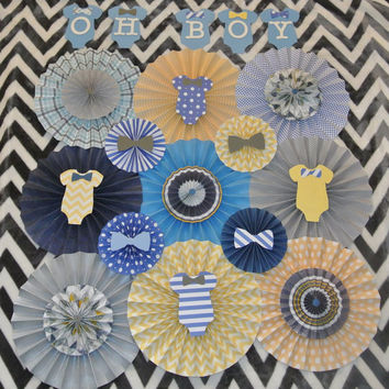 Baby Shower Decor / Onesuit Theme Paper Rosettes / Birthday Decoration / Boy's Nursery Decorations / Blue, Yellow and Gray Paper Rosettes