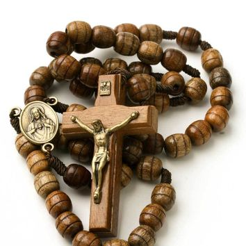 Catholic Rosary Beads Wood Necklace on Cord Blessed Heart of Jesus Center  7899347220775