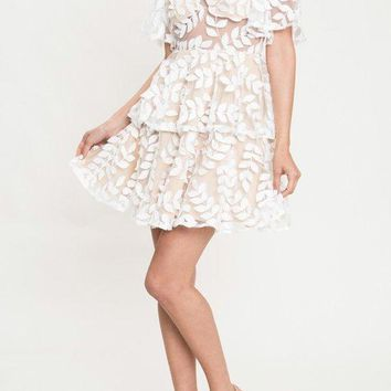 Leaf Design Ivory Fit Flare Mini Dress