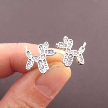 Balloon Dog Balloon Twisted Animal Shaped Rhinestones Stud Earrings in Silver