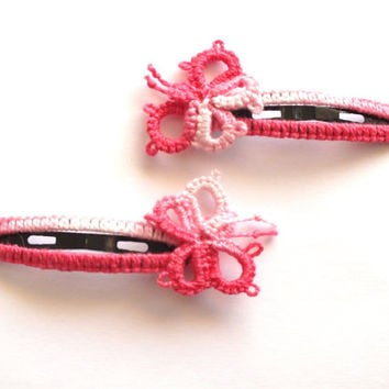 Set of Two Butterflies Tatted Girl Hair Clips, Pink Tatting Butterflies Hair clips, Baby Tatted Lace Snap Clips, Bridal Hair Flowers,