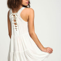 White Lace Up Slip Dress - LoveCulture