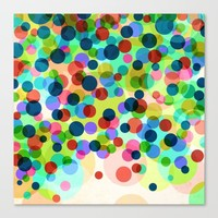 Happy Rainbow Confetti Canvas Print by Miss L In Art
