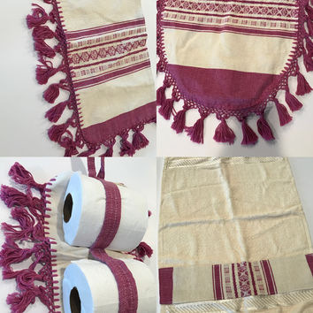 Mexican Ethnic Bathroom 4 pc Set with Tassels