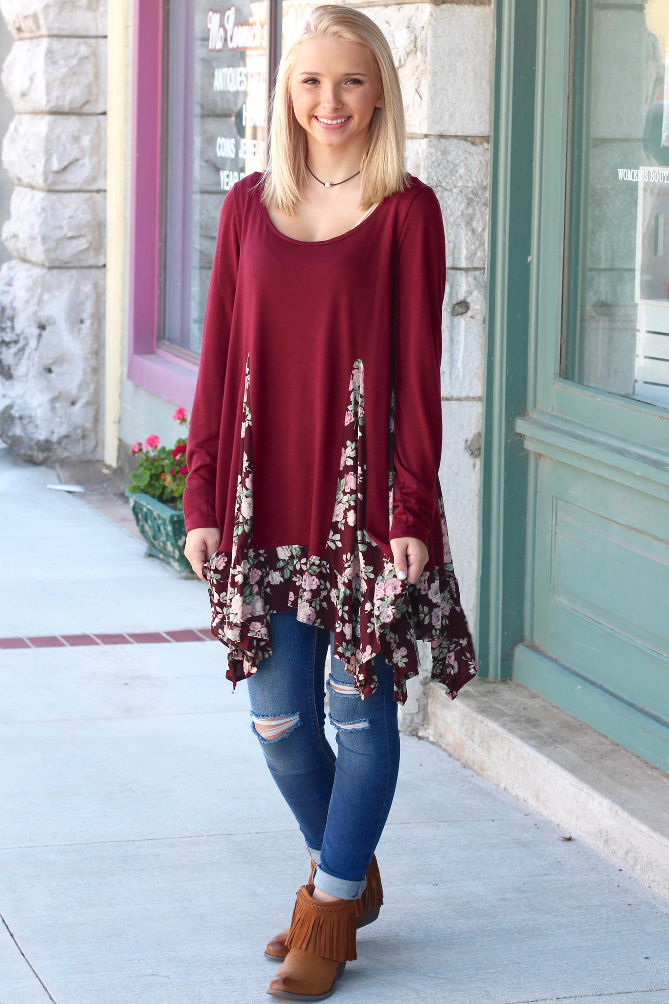 Rose Print Splice Ruffle Tunic From The Fair Lady Boutique