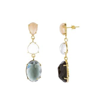 Gold Over Sterling Silver Black and Peach Glass Stone Triple Drop Earring
