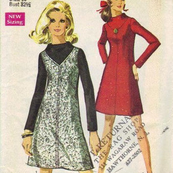 Simplicity 8441 Sewing Pattern 1960s Dress Retro Mod A-line Twiggy Mad Men Style Long Sleeves High Neck Uncut FF Bust 32