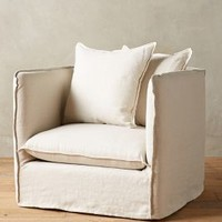 Belgian Linen Carlier Slipcover Armchair by Anthropologie