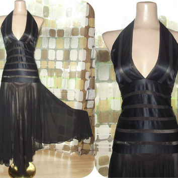 Vintage 90s Retro 30s Black Silk Nude Illusion Halter Dress Sz 8 Cocktail Gown Flapper Gatsby BCBG