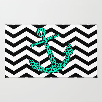 Mint Leopard Chevron Anchor Rug by M Studio