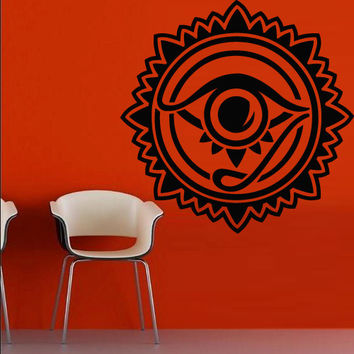Wall vinyl sticker decals decor art bedroom all seeing eye annuit coeptis illuminati god triangle providence inscription (m787)