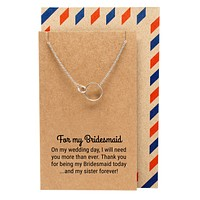 Lily Bridesmaid Gifts Interlocking Rings Necklace, Bridesmaid Jewelry