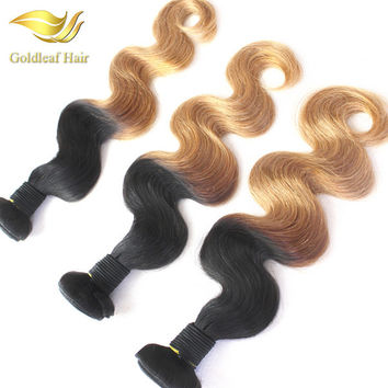 T 1B 27 Ombre Hair Extensions 3Pcs Ombre Hair Weaving Two Tone Color Hair Body Wave Hair Weaving