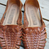 Vintage 90s The Leather Collection Brown Huaraches Woven Shoes Size 5.5 Womens