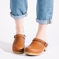 'Alma' Clog in Luggage Italian Leather