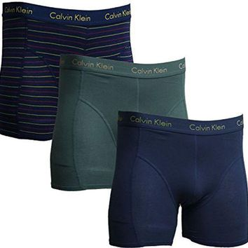 Calvin Klein Boxer Brief Men's Underwear 3 Pack Blue (solid And Stripe)