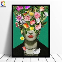 Frida Kahlo Floral Print Painting On Canvas Modern Canvas Painting Flower Poster Wall Pictures for Living Room Decal Wall Art Pa