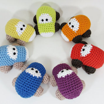 Crochet toy baby rattles set of seven cars - organic cotton - rainbow set