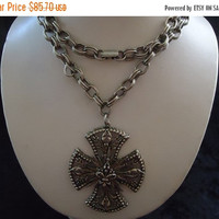 Vintage Signed Art Maltese Cross Necklace Collectible Retro Collectible Costume Jewelry