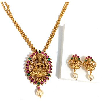 Double stranded ball chain with Goddess Lakshmi Pendant Necklace and Stud Earring set