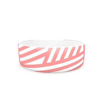 "Louise Machado ""Rose Stripes"" Pink White Pet Bowl"