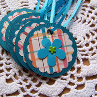 Flower Gift Tag Goody Bag Favor Label - Set of 8